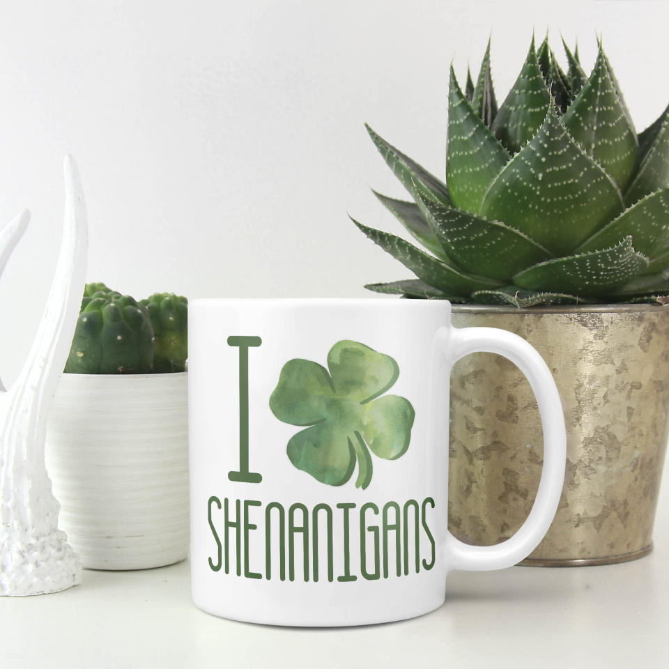DistinctivelyDisty I Love Shenanigans St. Patricks Day Mug (Photo: Etsy)
