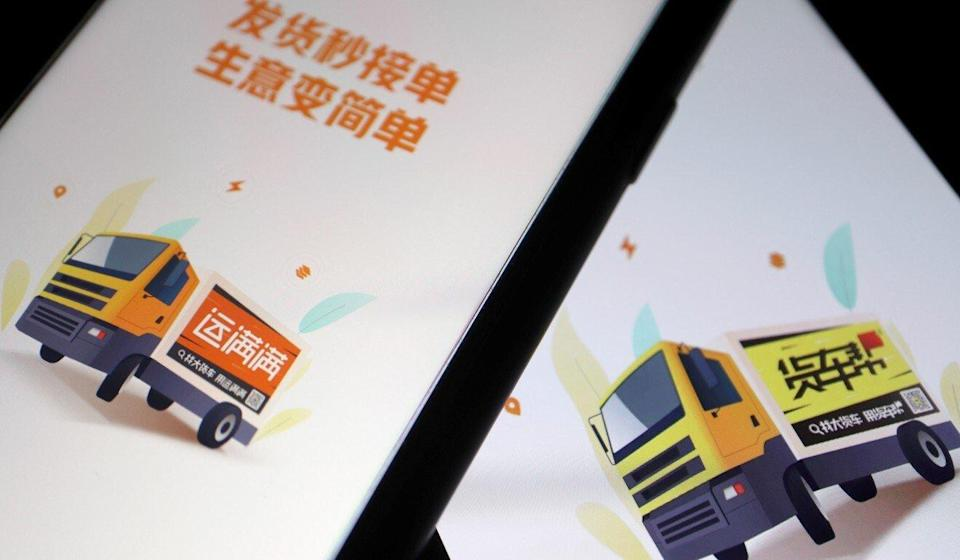 Chinese truck-hailing apps Huochebang and Yunmanman, owned by Full Truck Alliance, as seen on mobile phones. Photo: Reuters