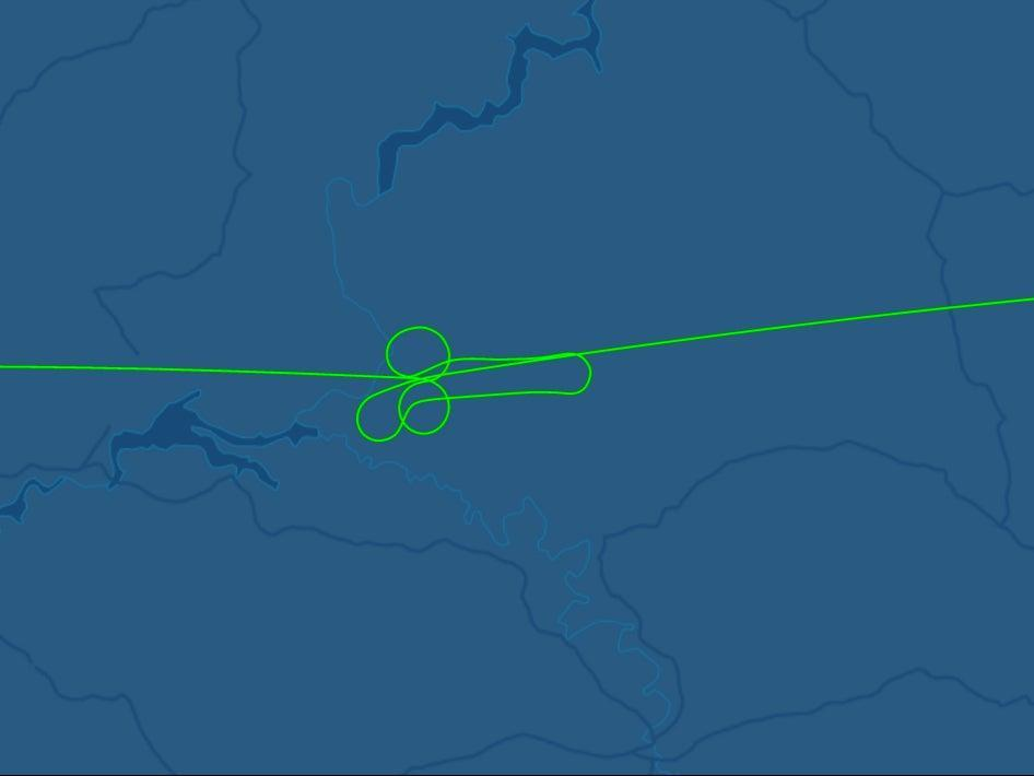 Flight DP407 had an unusual flight path (FlightAware)