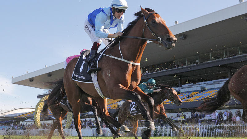 Hugh Bowman on Farnan RIDES in race 6, the De Bortoli Wines Run To The Rose during Sydney Racing at Rosehill Gardens on September 12. (Photo by Mark Evans/Getty Images)