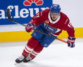 Montreal Canadiens' Brendan Gallagher warms up before the Laval Rocket against the Toronto Marlies American Hockey League game in Montreal, Monday, May 17, 2021. Gallagher and teammate Carey Price are on a one-game conditioning loan to the Rocket before their playoff series against the Toronto Maple Leafs. (Ryan Remiorz/The Canadian Press via AP)