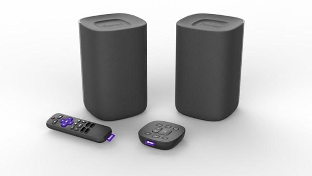 The Roku speakers are about the size of an Apple HomePod.