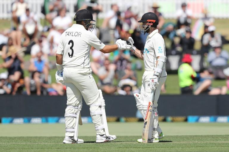New Zealand's Ross Taylor celebrates 50 runs with Kane Williamson (R) during the first day of the first Test against Pakistan