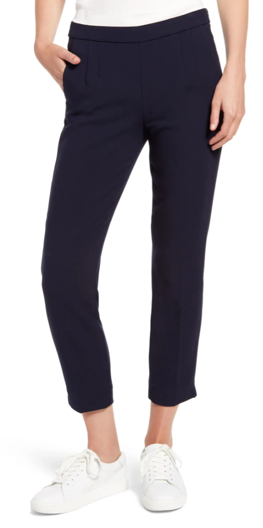 J. Crew Slim Stretch Crepe Pants in Navy