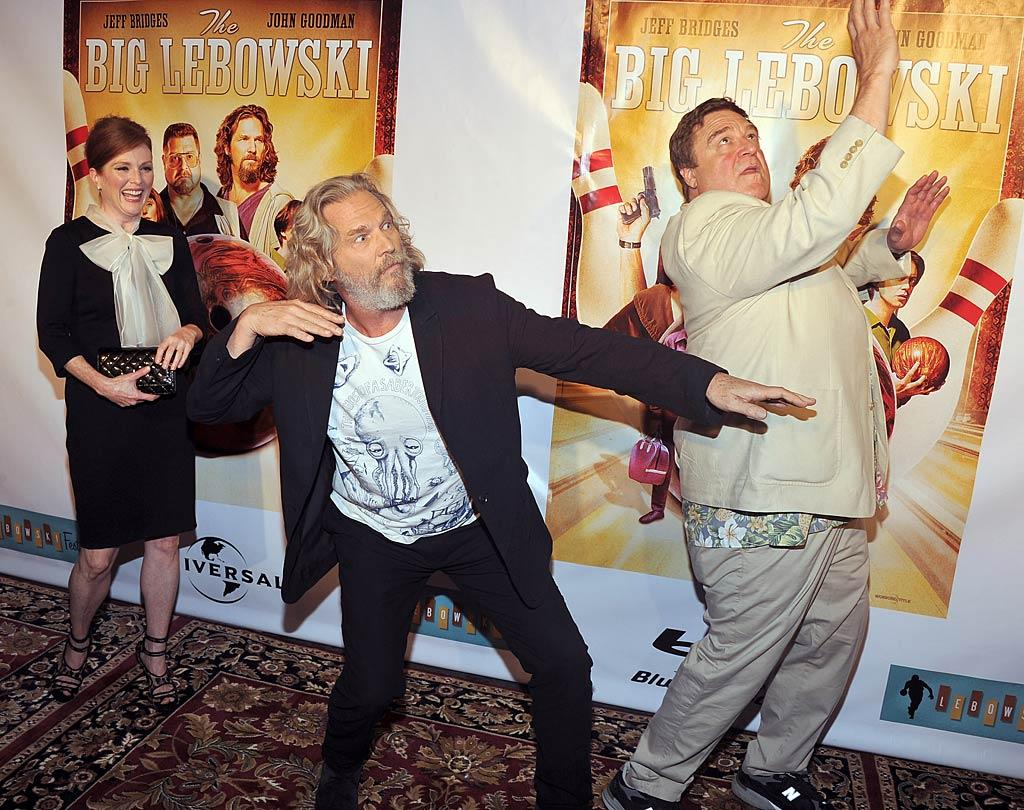 """It's nice to know Jeff Bridges and John Goodman are still up for goofing around -- and making Julianne Moore, their co-star in """"The Big Lebowski"""" -- laugh. The gang was at New York's Hammerstein Ballroom on Tuesday night to celebrate the 1998 cult hit's release on Blu-ray DVD. Theo Wargo/<a href=""""http://www.wireimage.com"""" target=""""new"""">WireImage.com</a> - August 16, 2011"""
