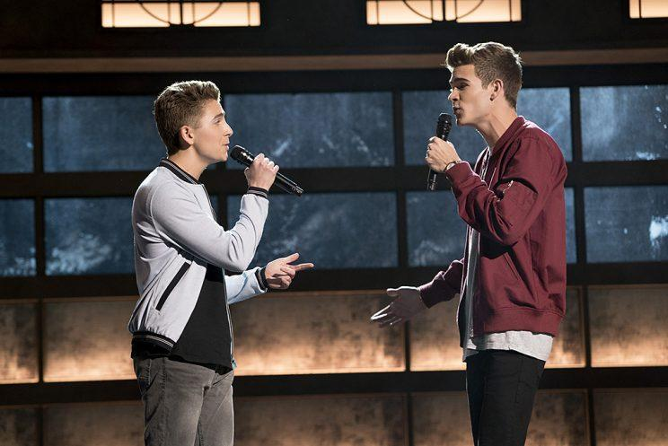 Gavin Becker and Devin Hayes on ABC's Boy Band. (Photo Credit: Eric McCandless/ABC)