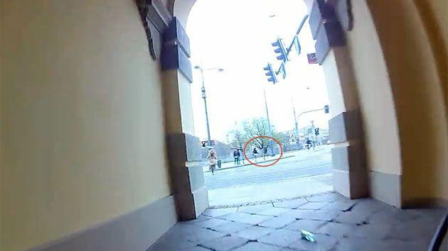 The Polish cyclist eyed off his targets and raced down a tunnel and across a road. Photo: YouTube