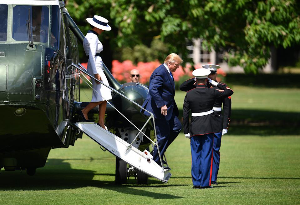LONDON, ENGLAND - JUNE 03: US President Donald Trump and First Lady Melania Trump disembark Marine One at Buckingham Palace ahead of a ceremonial welcome on June 3, 2019 in London, England. President Trump's three-day state visit will include lunch with the Queen, and a State Banquet at Buckingham Palace, as well as business meetings with the Prime Minister and the Duke of York, before travelling to Portsmouth to mark the 75th anniversary of the D-Day landings. (Photo by Jeff J Mitchell/Getty Images)