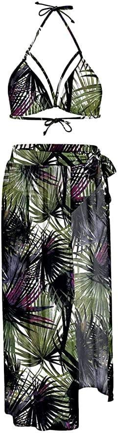 <p>This <span>Kisscynest Women's Halter Neck Cut Out 3 Pieces Swimwear</span> ($28 - $33) is a three-piece set that comes with a halter neck top, high-waisted bikini bottom, and a mesh maxi skirt cover up. </p>
