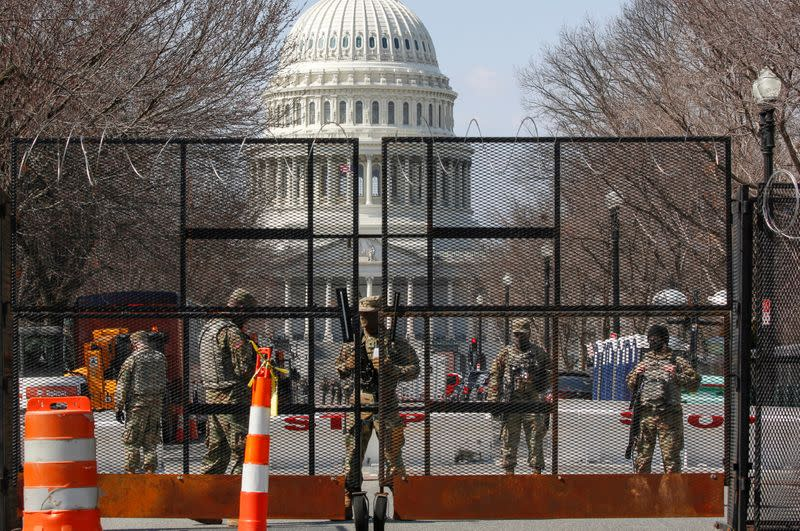 FILE PHOTO: National Guard soldiers stand guard near the U.S. Capitol in Washington