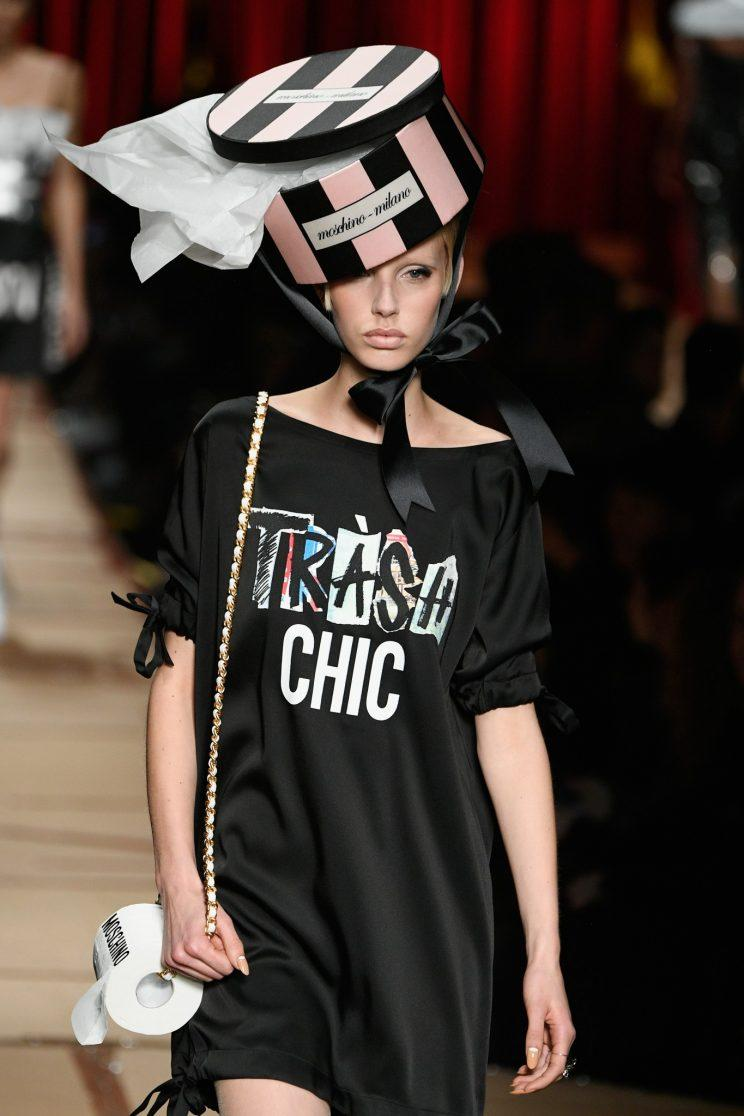 A model at the Moschino show. (Photo: Getty Images)