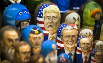 """FILE - In this file photo taken on Thursday, March 2, 2017, Matryoshkas, traditional Russian wooden dolls, including a doll of U.S. President Donald Trump, top, are displayed for sale in Moscow, Russia. From Moscow, the U.S. election looks like a contest between """"who dislikes Russia most,"""" according to Kremlin spokesman Dmitry Peskov. Russian President Vladimir Putin is frustrated with President Donald Trump's failure to deliver on his promise to fix ties between the countries. But Democratic challenger Joe Biden does not offer the Kremlin much hope either. (AP Photo/Alexander Zemlianichenko, File)"""