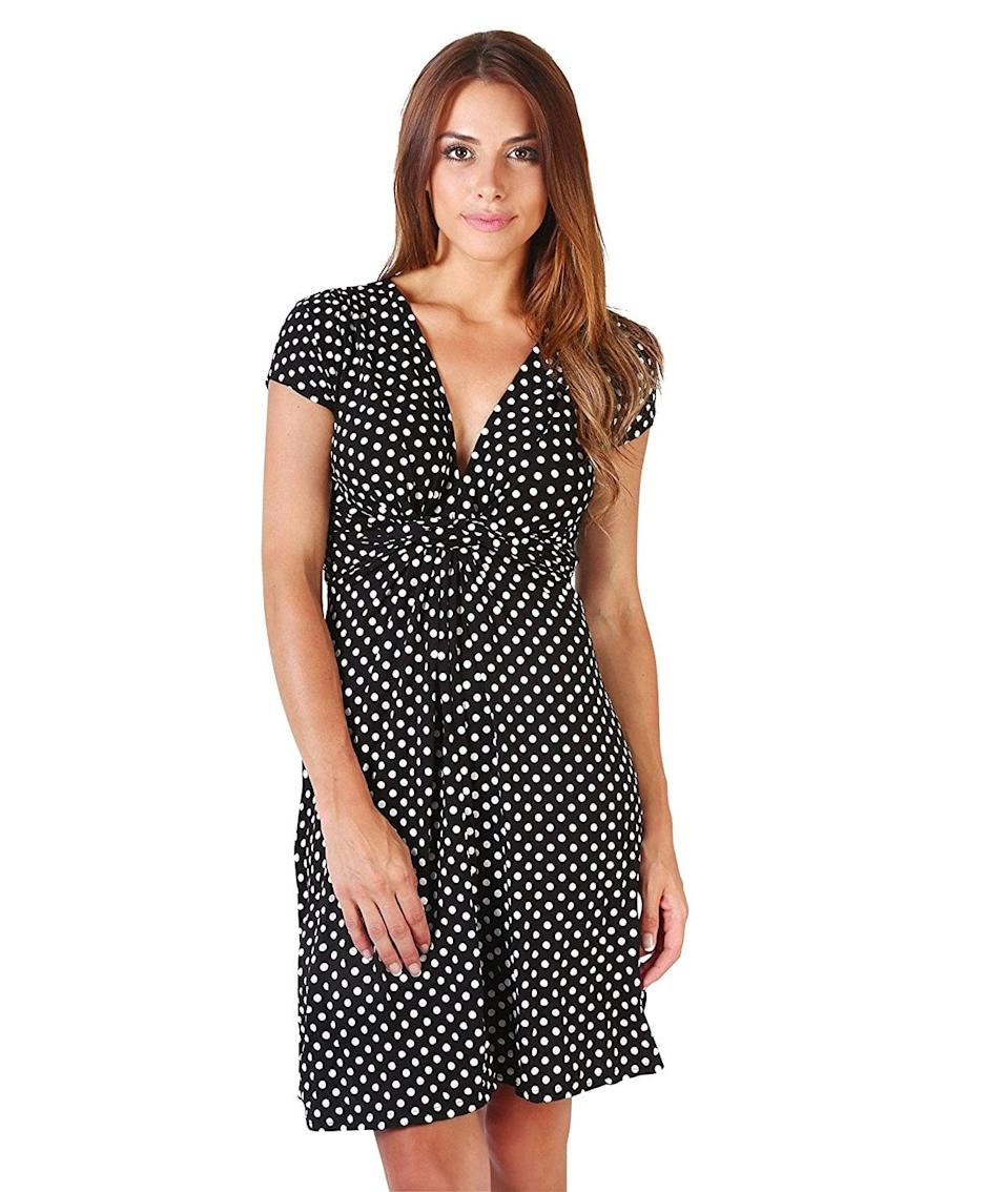 <p>This adorable <span>Krisp Casual Polka-Dot Dress</span> ($11 - $17) will stylishly accentuate your figure. </p>