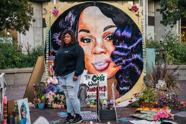 PHOTO: Tamika Palmer, mother of Breonna Taylor, poses for a portrait in front of a mural of her daughter at Jefferson Square park, Sept. 21, 2020, in Louisville, Ky. (Brandon Bell/Getty Images)