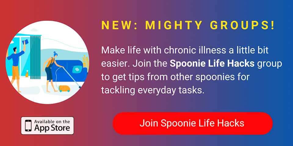 A banner promoting The Mighty's new Spoonie Life Hacks group on The Mighty mobile app. Click to join.