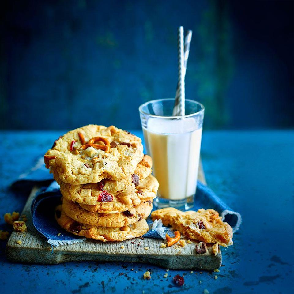 """<p>Mix and match treats to create your own personalised cookie - use anything from chocolate chunks to dried fruit and nuts.<br><br><strong>Recipe:</strong> <a href=""""https://www.goodhousekeeping.com/uk/food/recipes/lucky-dip-cookies"""" rel=""""nofollow noopener"""" target=""""_blank"""" data-ylk=""""slk:Lucky dip cookies"""" class=""""link rapid-noclick-resp"""">Lucky dip cookies</a><br><br></p>"""