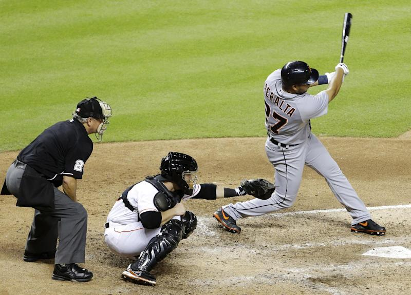 Peralta plays 1st game in Tigers' loss to Marlins