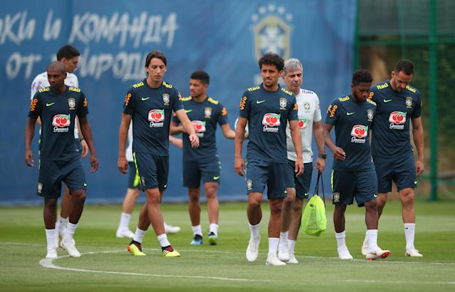 Soccer Football - World Cup - Brazil Training - Brazil Training Camp, Sochi, Russia - June 23, 2018 Brazil's Marquinhos and teammates during training REUTERS/Hannah Mckay