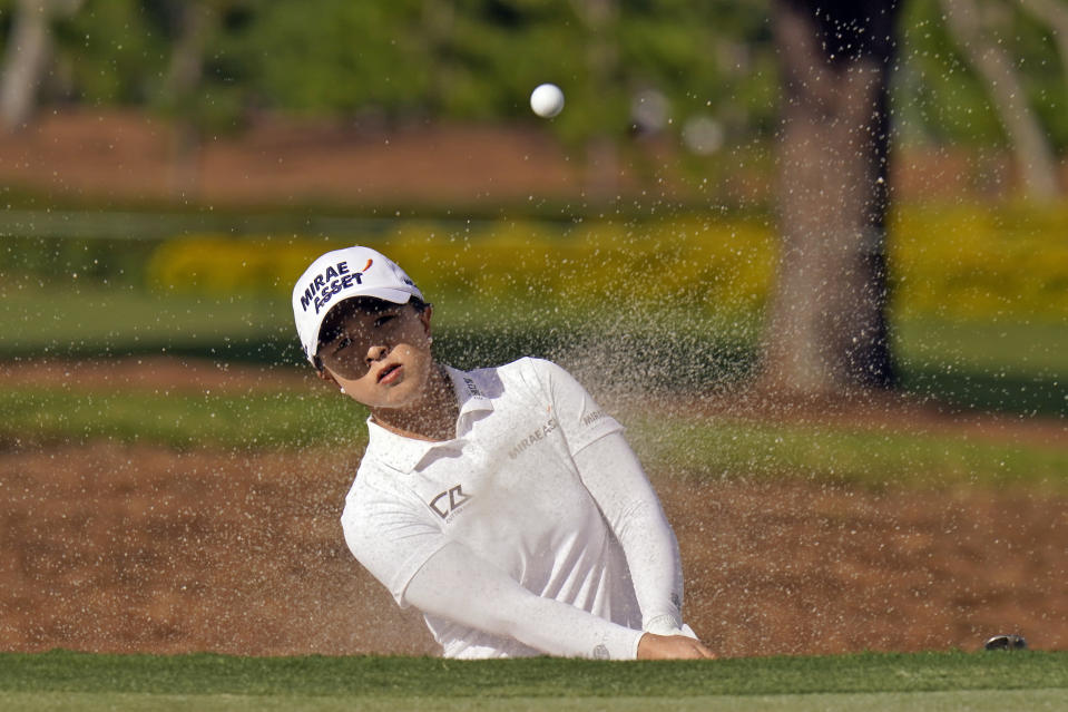 Sei Young Kim, of South Korea, blasts from the sand trap on the 15th hole during the final round of the LPGA Pelican Women's Championship golf tournament Sunday, Nov. 22, 2020, in Belleair, Fla. Kim went on to win the tournament. (AP Photo/Chris O'Meara)
