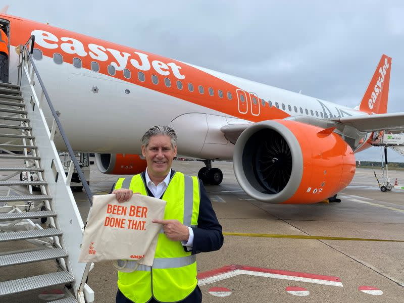 EasyJet CEO Johan Lundgren poses in front of an aircraft in Berlin