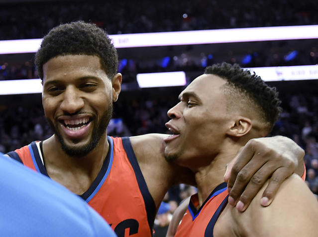 Paul George got the job done with Russell Westbrook out. (AP Photo/Michael Perez)