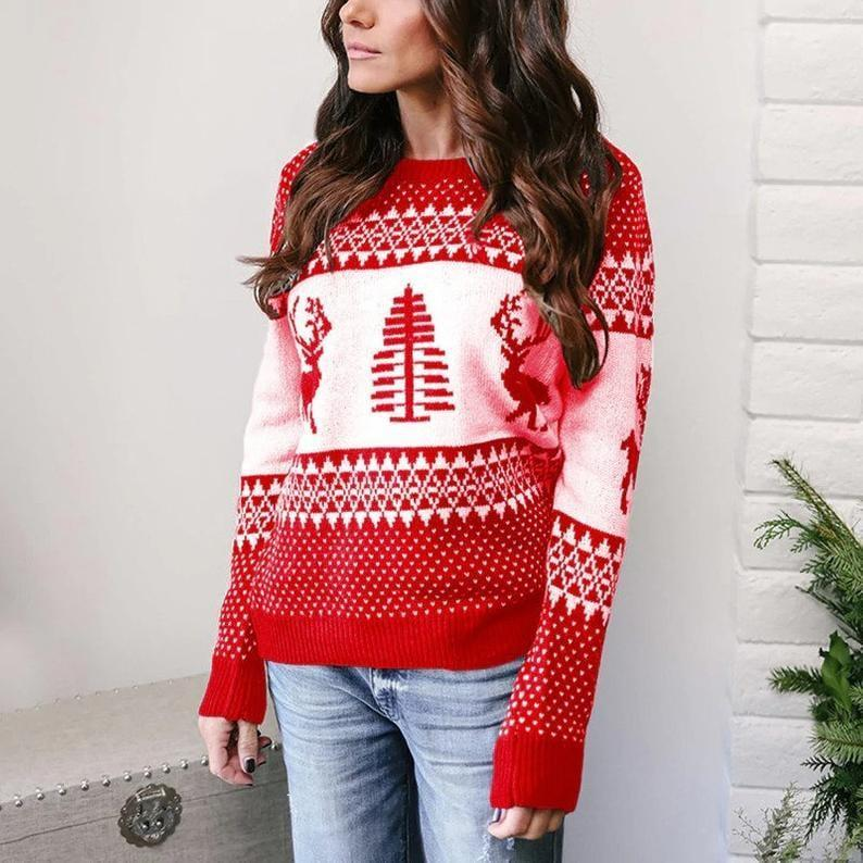 <p>Thix cozy <span>Christmas Sweater</span> ($37) comes in red, green, gray, and blue.</p>