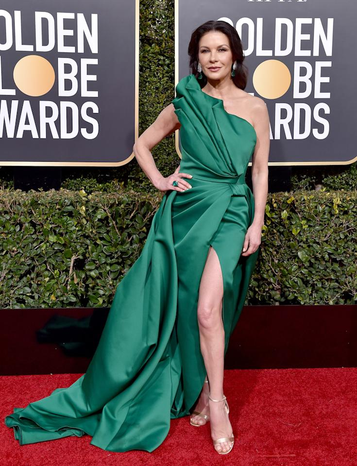 BEVERLY HILLS, CA - JANUARY 06:  Catherine Zeta-Jones attends the 76th Annual Golden Globe Awards at The Beverly Hilton Hotel on January 6, 2019 in Beverly Hills, California.  (Photo by Axelle/Bauer-Griffin/FilmMagic)