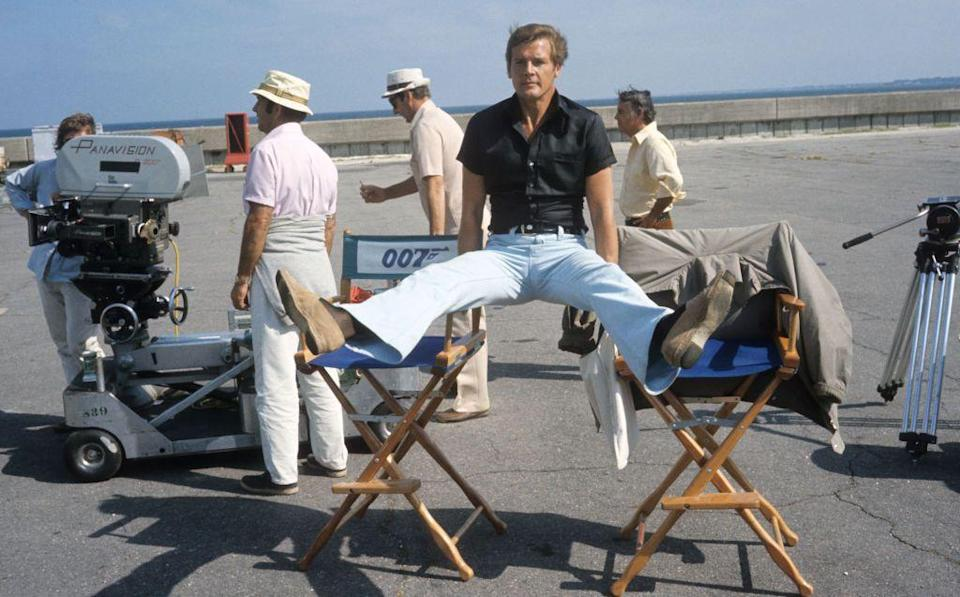 <p>Roger Moore messes about on the set of 'Live And Let Die', 1973.</p>