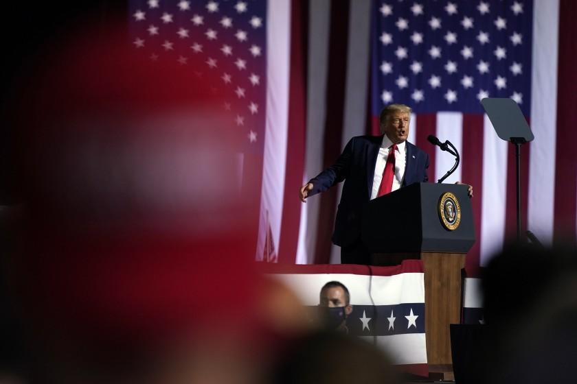 President Donald Trump speaks during a campaign rally at Gastonia Municipal Airport, Wednesday, Oct. 21, 2020, in Gastonia, N.C. (AP Photo/Evan Vucci)