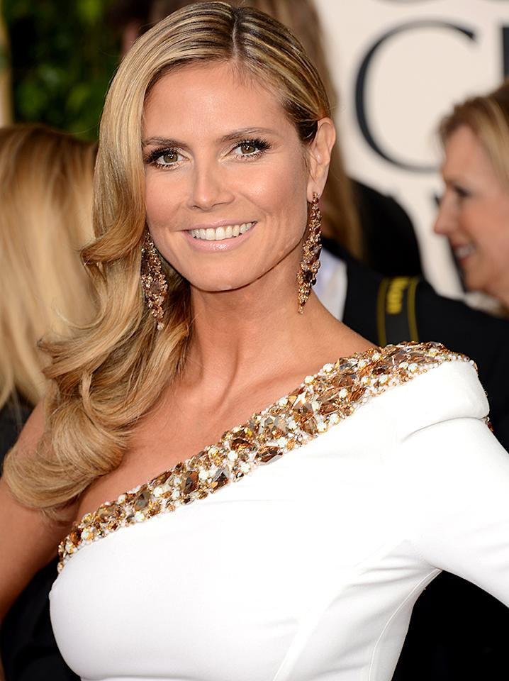Heidi Klum arrives at the 70th Annual Golden Globe Awards at the Beverly Hilton in Beverly Hills, CA on January 13, 2013.