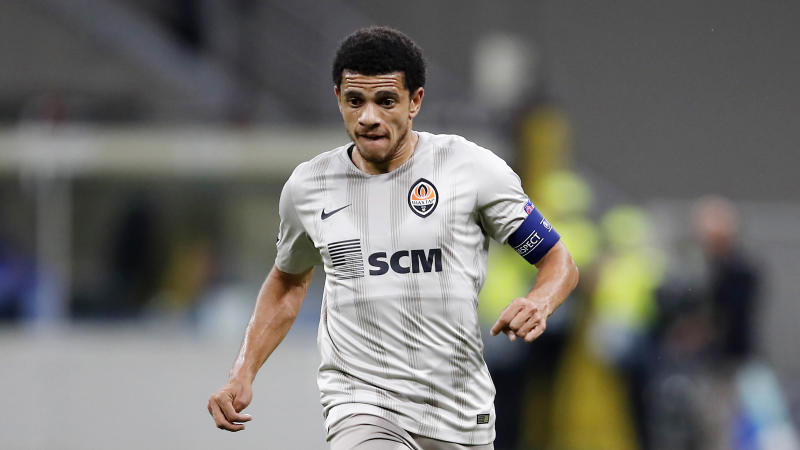 Shakhtar's Taison controls the ball during the Champions League group C soccer match between Atalanta and Shakhtar Donetsk at the San Siro stadium in Milan, Italy, Tuesday, Oct. 1, 2019. (AP Photo/Antonio Calanni)