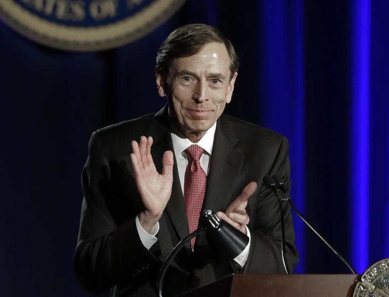 David H. Petraeus, former army general and head of the Central Intelligence Agency, speaks at the annual dinner for veterans and ROTC students at the University of Southern California, in downtown Los Angeles Tuesday, March 26, 2013.  It marked Petraeus' first public remarks since he retired as head of the CIA after an extramarital affair scandal (AP Photo/Reed Saxon)