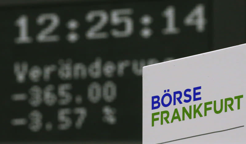 German share price index DAX board is seen at Frankfurt's stock exchange