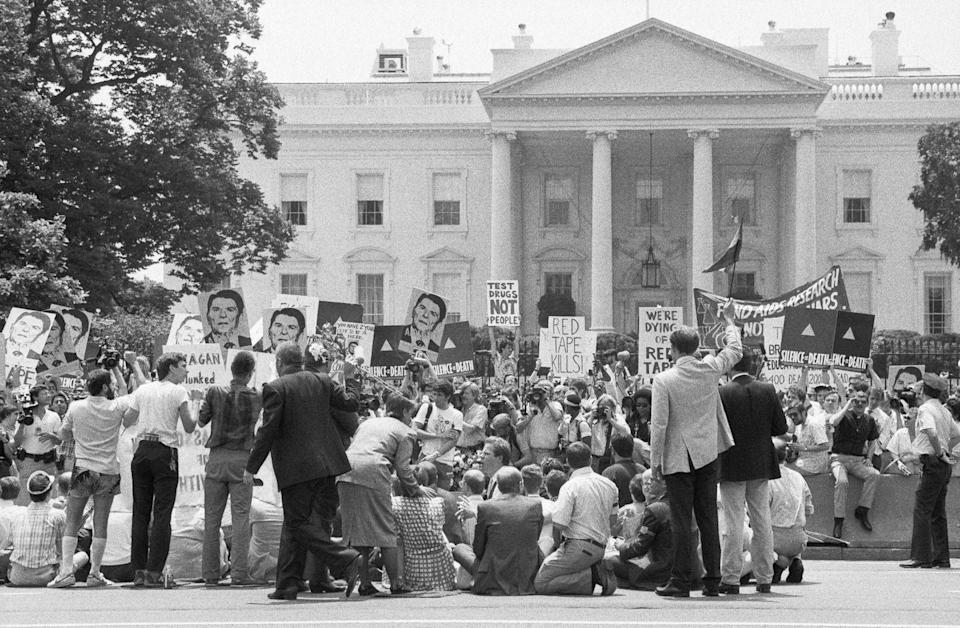 <p>In addition to advocating for LGBTQ+ rights broadly, the Second National March on Washington for Lesbian and Gay Rights also drew attention to the AIDS pandemic, asking for more research funding to combat the disease and acknowledgement from President Reagan. </p>