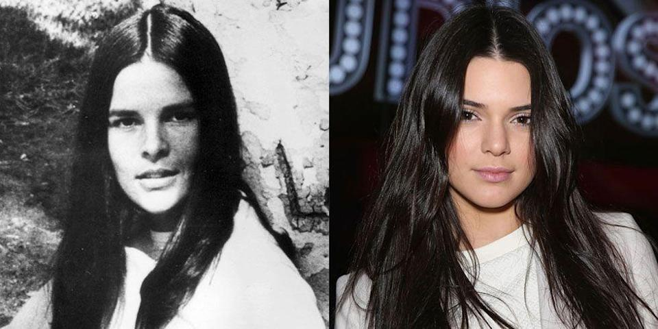 <p>People have often compared model Kendall Jenner to the '70s actress Ali MacGraw, and it's clear why. It's not just their long dark hair though—they give the same stare to the camera, too.</p>
