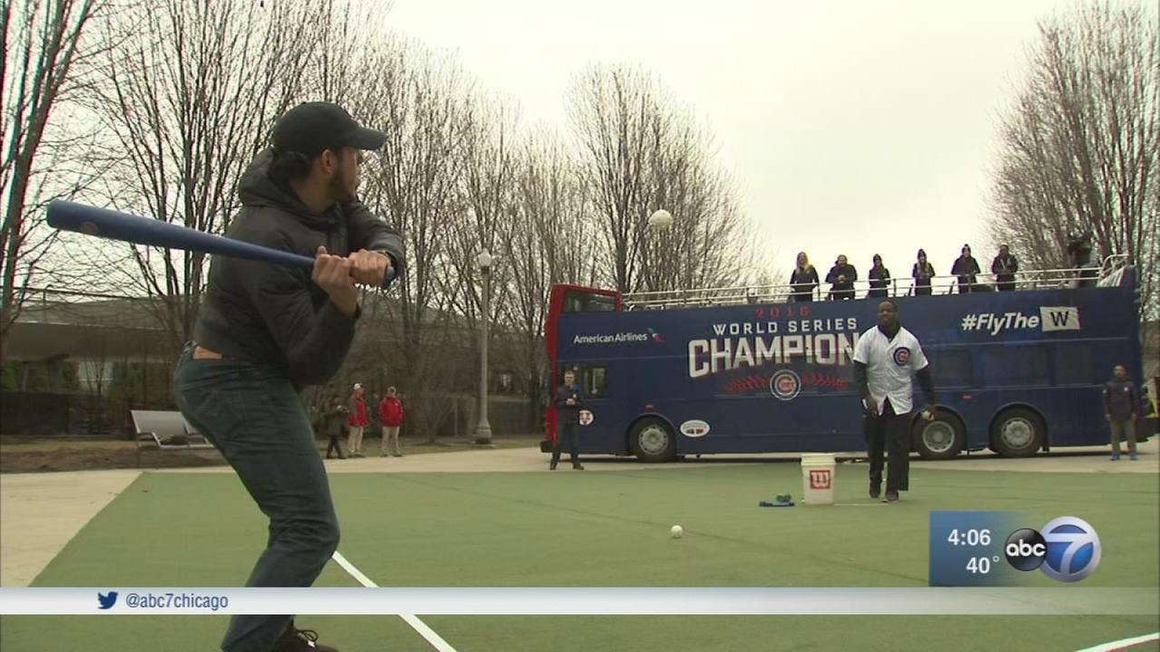 Chicago Cubs staffers will be at the South Promenade in Millennium Park a day ahead of single-game ticket sales for a Wiffle Ball Home Run Derby.