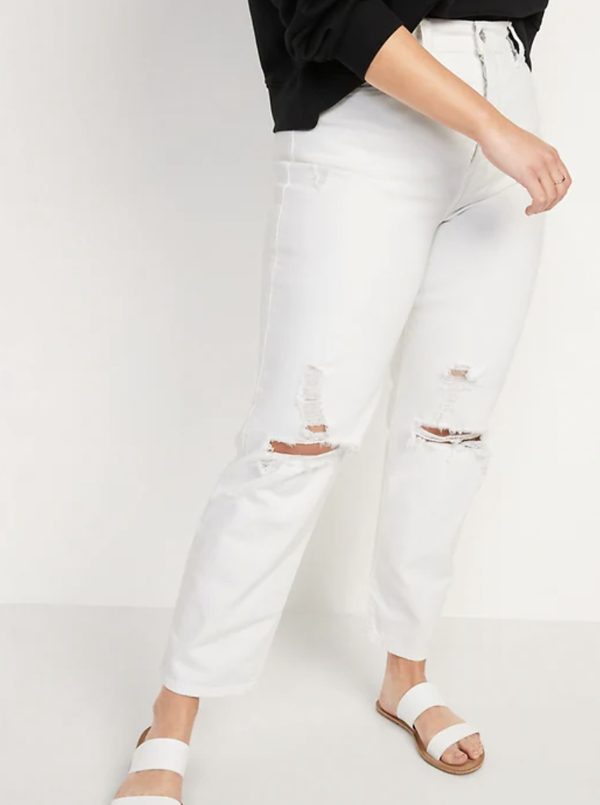 Extra High-Waisted Sky Hi Straight Button-Fly Ripped White Jeans (Photo via Old Navy)