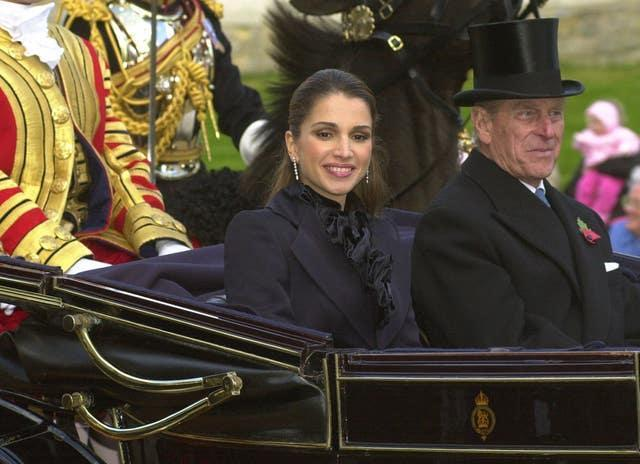 Queen Rania and the Duke of Edinburgh in 2001