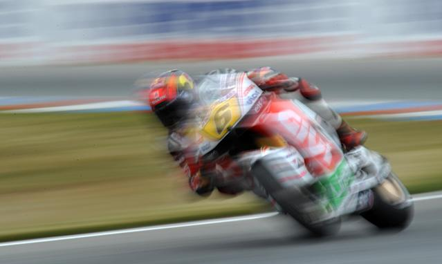 Germany's Stefan Bradl rides his Honda to seventh place during the qualifying pratice session of the Czech Republic Grand Prix in Moto GP on August 25, 2012 in Brno ahead of the Grand prix on August 26. Spain's Jorge Lorenzo secured pole position ahead of Enlgand's Cal Crutchlow and Spain's Dani Pedrosa. AFP PHOTO/ MICHAL CIZEKMICHAL CIZEK/AFP/GettyImages