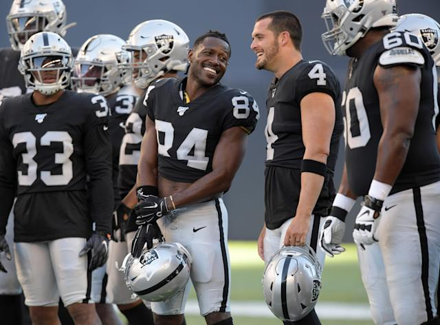 Antonio Brown and Derek Carr (Photo by Kirby Lee-USA TODAY Sports)