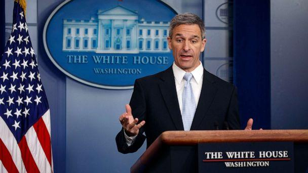 PHOTO: Acting Director of United States Citizenship and Immigration Services Ken Cuccinelli, speaks during a briefing at the White House, Aug. 12, 2019, in Washington. (Evan Vucci/AP)
