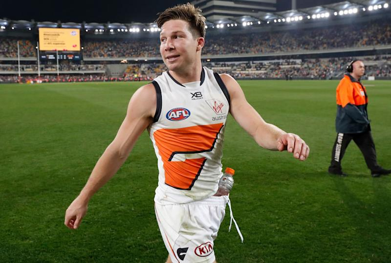 Toby Greene of the Giants celebrates during the 2019 AFL Second Semi Final match between the Brisbane Lions and the GWS Giants at the Gabba on September 14, 2019 in Brisbane, Australia. (Photo by Michael Willson/AFL Photos)