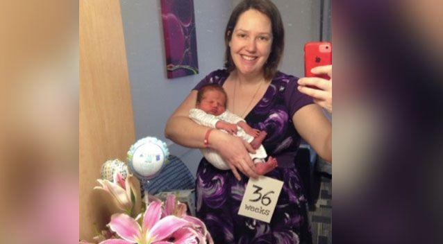 Kimberley Booth has shared a warning about listeria after she had her son early. Photo: Supplied