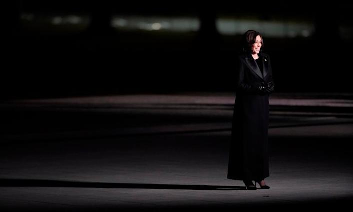 Kamala Harris at a televised ceremony at the Lincoln memorial on 20 January.