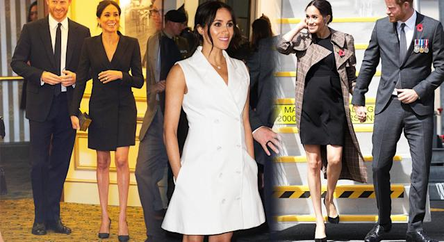Meghan Markle has been wearing shorter skirts since she fell pregnant. [Photo: Getty]