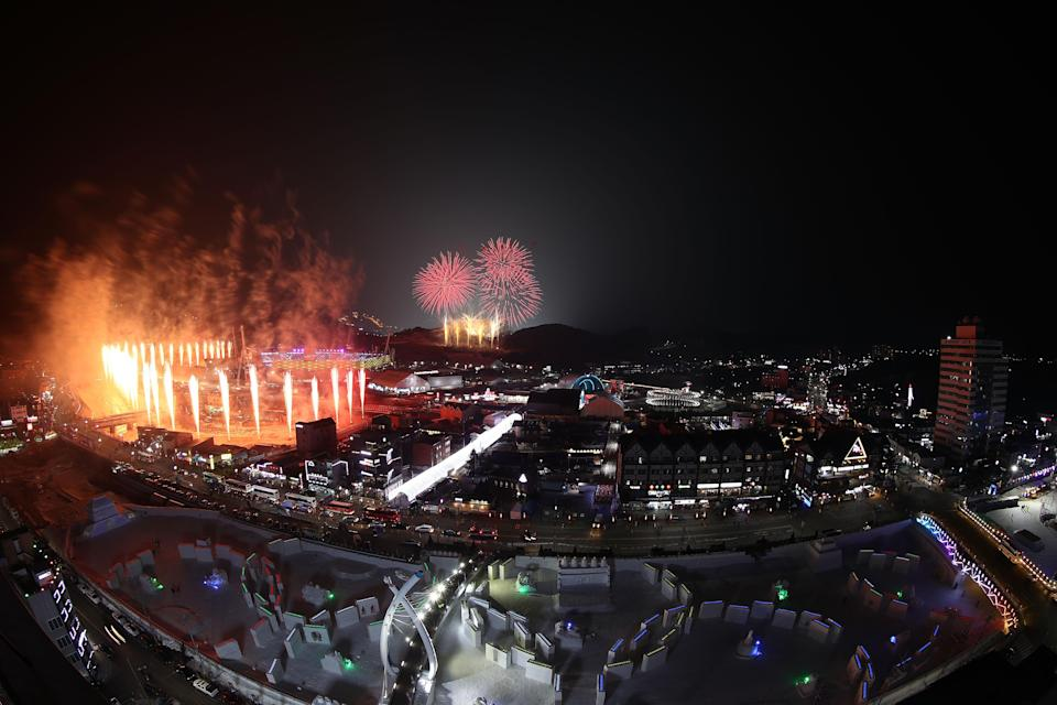 <p>Fireworks are seen during the Opening Ceremony of the PyeongChang 2018 Winter Olympic Games at PyeongChang Olympic Stadium on February 9, 2018 in Pyeongchang-gun, South Korea. (Photo by Robert Cianflone/Getty Images) </p>