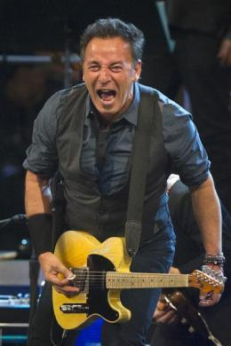 Bruce Springsteen performs at Madison Square Garden in New York, April 9, 2012.