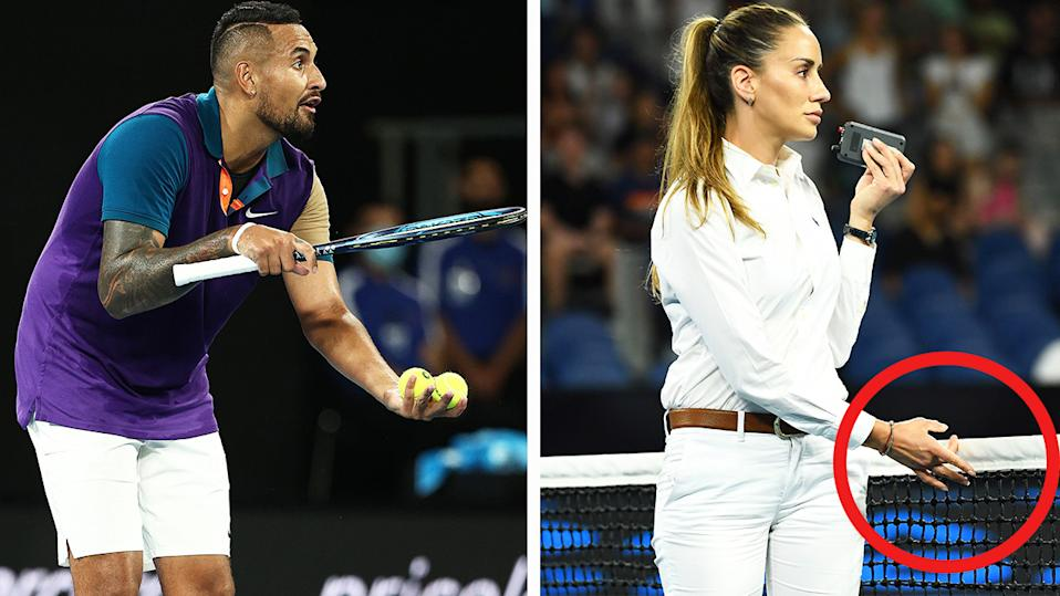 Nick Kyrgios (pictured left) gesturing to the chair umpire that the net technology is malfunctioning and chair umpire Marijana Veljovic  (pictured right) checking the net.