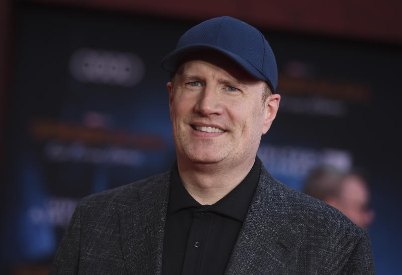 "FILE - In this June 26, 2019 file photo, Marvel Studios President Kevin Feige arrives at the world premiere of ""Spider-Man: Far From Home"" at the TCL Chinese Theatre in Los Angeles. Marvel Studios may be stepping away from its cross-studio partnership with Sony Pictures that has allowed the Spider-Man character to appear in Marvel Cinematic Universe films like ""Avengers: Endgame."" The Hollywood trade Deadline reports Tuesday, Aug. 20, 2019 that there was a disagreement over the profit-sharing structure. (Photo by Jordan Strauss/Invision/AP, File)"