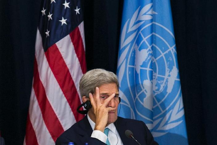 United States Secretary of State John Kerry listens during a meeting at the Palace Hotel on September 26, 2015, in New York (AFP Photo/Dominick Reuter)